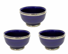 "Moroccan Ceramic Bowls Triple Pack with Silver Edge Handmade in Morocco. 8 cm / 3"" (Blue Cobalt)"